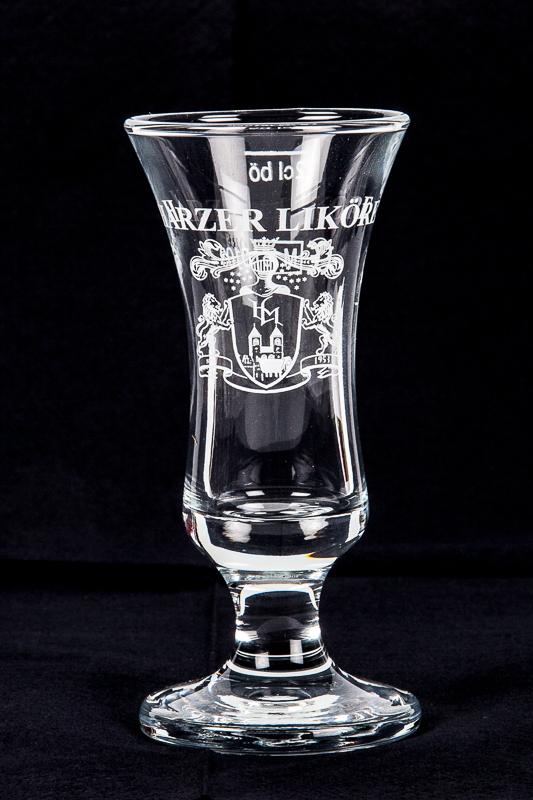 Glas mit Logo Harzer Likör Manufaktur
